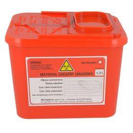 Jednorázový kontejner na ostrý lékařský odpad objem 1.3l