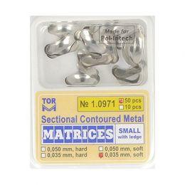 Zubní profilované matrice 50ks malé s hranou 0.035mm soft