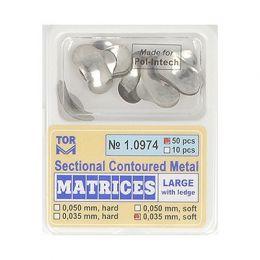 Zubní profilované matrice 50ks velké s hranou 0.035mm soft