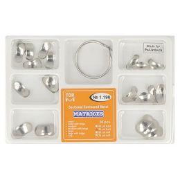 Zubní profilované matrice a prstencová svorka set 30ks 0,035mm hard