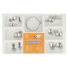 Zubní profilované matrice a prstencová svorka set 30ks 0,035mm soft