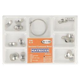 Zubní profilované matrice a prstencová svorka set 30ks 0,050mm hard