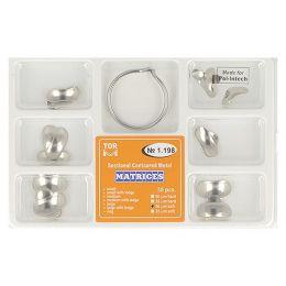Zubní profilované matrice a prstencová svorka set 30ks 0,050mm soft