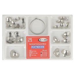 Zubní profilované matrice a prstencová svorka set 50ks 0,035mm hard