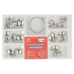 Zubní profilované matrice a prstencová svorka set 50ks 0,035mm soft