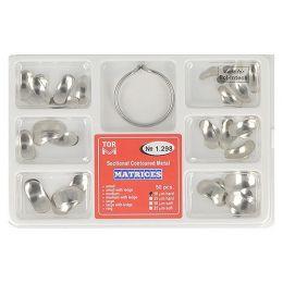 Zubní profilované matrice a prstencová svorka set 50ks 0,050mm hard
