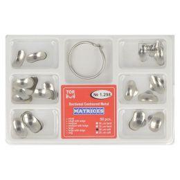 Zubní profilované matrice a prstencová svorka set 50ks 0,050mm soft